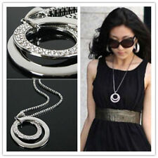 Women Rhienstone Necklace Pendant Long Neck Chain Jewelry Silver Accessory Party