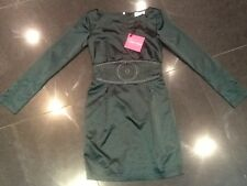 NWT Paris Hilton New & Genuine Ladies Green Satin Cocktail Dress (UK 8/10)