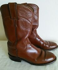 JUSTIN Women's Brown leather Western/Roper/Riding boots Size 4.5 B Made in USA
