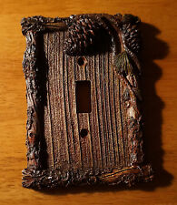 PINE CONE BARK CABIN SINGLE SWITCH PLATE COVER SWITCHPLATE Lodge Home Decor NEW