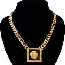"Gold Lion Head Necklace Square Pendant 16"" Cuban Chain Link Celebrity Fashion"
