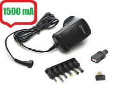 AC DC 1500mA Universal Mains Plug Power Supply Charger Adapter Adaptor 3v - 12v