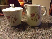 SANGO MONTAIGNE FLORAL ROSE W/ GOLD TRIM COVERED SUGAR BOWL & LID & CREAMER SET