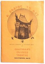 Vtg 1943 A SHIRNE TO ART Grauman's Chinese Theatre Hollywood CA Souvenir Booklet