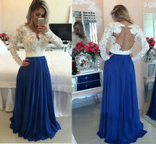 2015 A Line Long Sleeve V Neck Backless Prom Dresses With Bead Evening Gowns