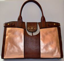 NWT Fossil brown and Rose gold VRI weekender 3 Tote bag. Originally $288.00