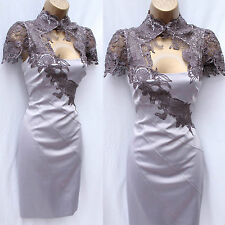 Exquisite KAREN MILLEN Mocha Satin Lace Neck Tuxedo Cocktail Wiggle Dress 14 UK