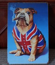 English Bulldog Metal Tin Signs Rustic Poster Home Pub Bar Wall Decor