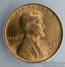 1c One Cent Penny 1953 D/D MS63 RB ANACS RPM#4 Lincoln Wheat Mint Error