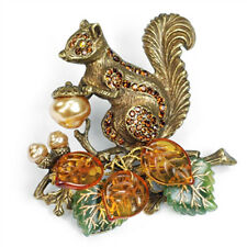 Sweet Romance Squirrel Harvest Brooch Pin ~Made in the USA~