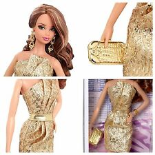 THE BARBIE LOOK COLLECTION BLACK LABEL CITY SHINE FASHION DOLL GOLD DRESS