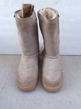 Bearpaw Meadow - 10 inch Sheepskin Boots Womens Size 8M, rubber soles Beige