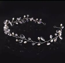 "Handmade 13"" hair vine tiara bridal/wedding/clear gem crystal pearl bride bead"