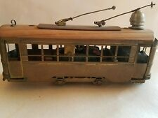 """Interesting toy brass electric  4.5"""" cable car as found"""