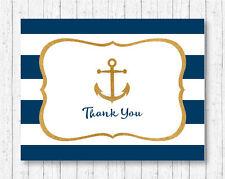 Nautical Gold Anchor Thank You Card Printable