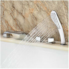 Hot Modern Waterfall Roman Tub Filler with Hand Shower Bathroom Bathtub Faucets