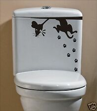 Black Cat & Scared Rat Mouse Funny Humor Sticker Decal Toilet Bathroom PAWSPRINT