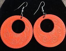 Boho Hippy Gypsy 70s Style Open Hoop Orange Wooden Abstract Fashion Earrings