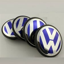 4 x 65mm Volkswagen VW Alloy Wheel Centre Hub Caps Golf Polo Bora Jetta Blue