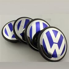 4 x 55mm Volkswagen VW Alloy Wheel Centre Hub Caps Golf Polo Bora Jetta Blue