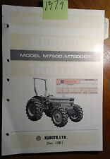 Kubota M7500 M7500DT Tractor Illustrated Parts List Manual 07909-55704 12/81
