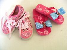 Lot 2 Girls Shoes  Size 8 Jeweled Paris Blues Sneakers and Slippers