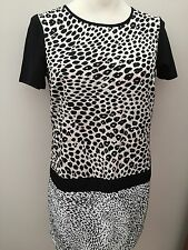 Black White & Cream Two Tone Dress With Black Sleeves - Size 12  ** NEW **