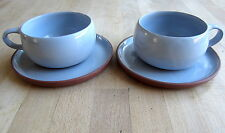 2 x Habitat 'Sylvie' Cups & Saucers - Blue Stoneware Gres - Vintage Coffee Cups