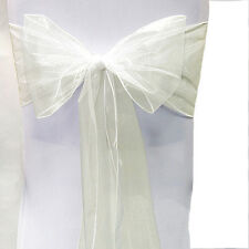 1PC Chair Cover Sashes Organza Bows Sash Wedding Party Decor Reception Ivory 04
