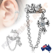 Crown Ear Cuff with Chain & CZ Set Cross Dangle