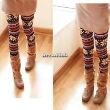 Donna Lavorato a maglia Colorato Morbido Leggings collant leggins Pantaloni DL0