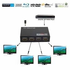Full HD 1X4 Port HDMI Splitter Amplifier Repeater 3D 1080p 1 in 4 out Box Hub HY