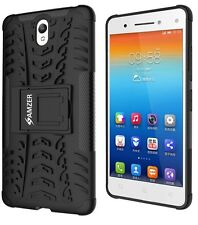AMZER Dual Layer Hybrid Armor Warrior Case With Stand For Lenovo Vibe S1 - Black