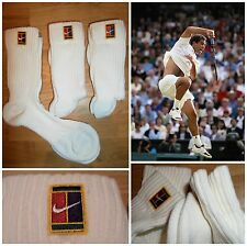 Vtg 90s NIKE SUPREME COURT SAMPRAS Tennis Crew Socks 3 x PAIR Retro OG Men's NEW