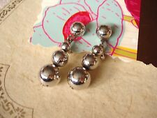 VTG Clip Drop Earrings silver tone metal BALLS Mid Century MOD signed BERGERE