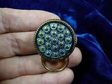 (E-557) Blue green vintage dot Czech button Eyeglass pin pendant id badge holder
