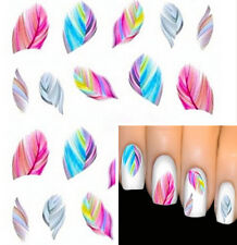 Feather Nail Art Water Transfer Decal Sticker Rainbow Dreams bright color Hot TR