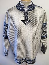 Traditional Vintage DALE Nordic Norwegian Pattern Clasp Neck Jumper XL 46-48""