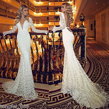 White/Ivory  Lace Wedding Dress Bridal Gown Custom 4 6 8 10 12 14 16 18 20 22+++