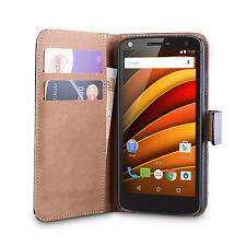 iDefend Motorola Moto X Force Genuine Leather Black Tan Case + Screen Protector