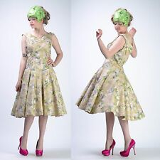 VTG 50s 20s FLORAL FULL CIRCLE SKIRT Deco Flapper Wedding Gatsby PARTY DRESS