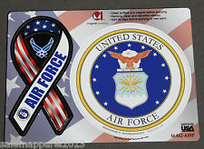 US AIR FORCE INSIGNIA WING CAR REFRIGERATOR RIBBON MAGNET PATCH DECAL - SET OF 3