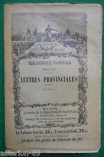 LETTRES PROVINCIALES I BLAISE PASCAL LIBRAIRIE BIBLIOTHEQUE NATIONALE PFLUGER