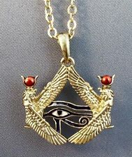 Isis Goddess Horus Eye Pewter Amulet Pendant w/ Chain Pagan Wiccan Jewelry #J280