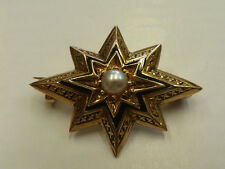 Victorian Handmade 15ct Yellow Gold Seed Pearl & Black Enamel Mourning Brooch