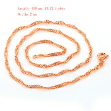 Fashion Womens Long Wave Chain Necklace Rose Gold Filled Choker Free Shipping