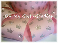 "3"" GLITTER PRINCESS SPARKLE SILVER CROWNS GROSGRAIN RIBBON 4 BOW * BABY * PINK"