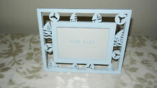 "For Baby Light Blue Sailboat Picture Frame Fits 3 1/2 x 5 "" Photo New w/out Box"