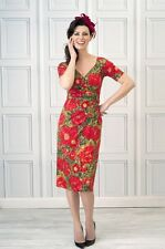 Bombshell Katya Wildman Red Liberty Rose Structured Occasion Dress 18 46