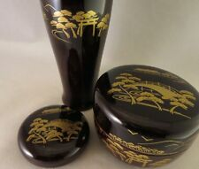 JAPANESE TRADITIONAL NATSUME LACQUER WOODEN TEA CADDY Kogo Chasen stand 3 pcs